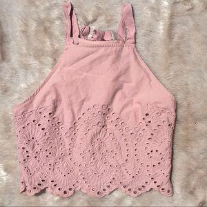 Abercrombie & Fitch Pink Halter Neck Crop Top